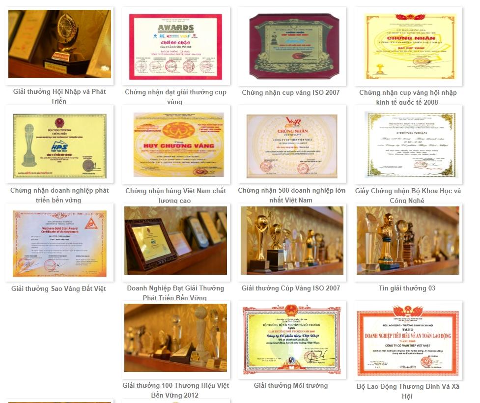 Danh Sách Gải Thưởng Thép Việt Nhật Đạt Được